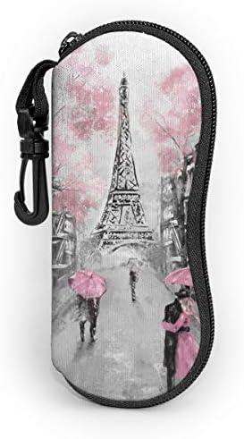 Sunglasses Soft Case Eiffel Tower Paris Vintage Ultra Light Neoprene Zipper Eyeglass Case With product image