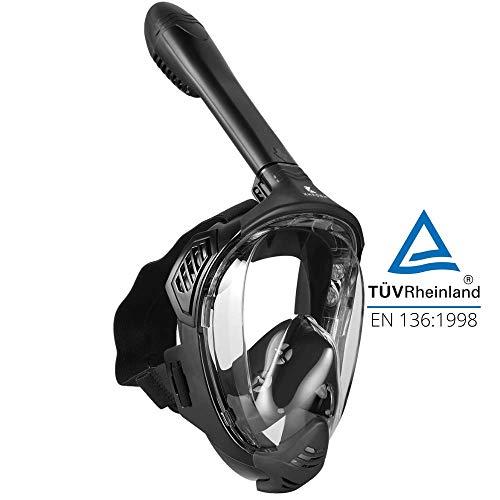 Khroom® TÜV geprüfte CO2 sichere Schnorchelmaske [NEUZUGANG] Vollmaske Modell 2021 -Tauchmaske für Erwachsene und Kinder | Vollgesichtsmaske zum Schnorcheln (Matt Schwarz, L/XL)