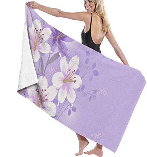 Ches Damen Bademantel mit violetten Blumen, Weiß, Siehe Abbildung, Einheitsgröße
