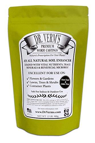 Dr. Verm's Premium Worm Castings – Organic Soil Builder and Fertilizer (2 LB)
