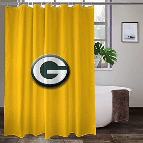 LAYENJOY Green Bay P-a-c-k-ers (18) Football Waterproof Curtain Bathroom Partition Shower Curtain Hooks Suitable for Shower Room Bedroom Bathtub(70x84 in)