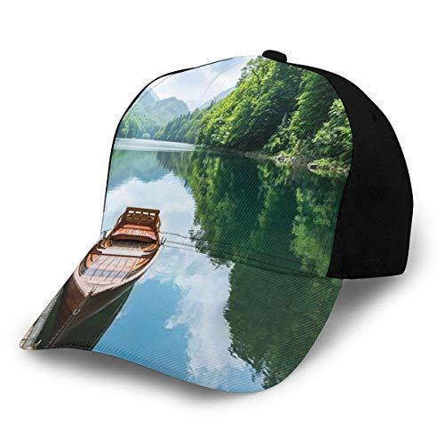 Hip Hop Sun Hat Baseball Cap,Wooden Boat At Pier On Biograd Mountain Lake Montenegro Idyllic Springtime,For Men&Women