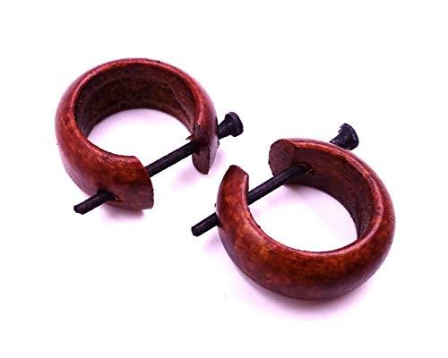 MADE IN ZEN - Pendientes de aro, color marrón