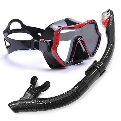 MHSHKS Máscara De Esnórquel Máscara De Snorkel Profesional Máscara De Gafas De Buceo Antivaho Conjunto De Snorkel para Buceo, Natación, Snorkel Y Otros Deportes Subacuáticos (Color : Red)