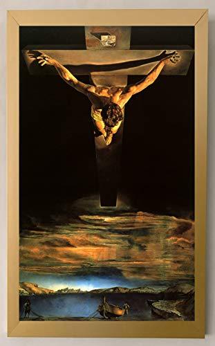 """Emoldurado Cristo São João Da Cruz Pescadores Dali Tela 37cm x 23cm em Tela """"Canvas"""" Como uma pintura a oleo"""