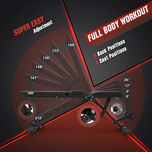 FLYBIRD Adjustable Weight Bench, Foldable Workout Bench Incline Bench for Home Gym Strength Training - Waist Pad New Version