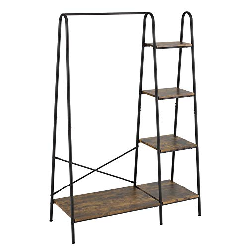 Finnhomy Metal Clothes Garment Rack with 4Tier Wood Storage Shelves Heavy Duty Accent Furniture for Hanging Clothes/Folding Clothes/ Shoes/ Decors Freestanding Closet Organizer for Bedroom/ Entryway / Boutiques Matte Black