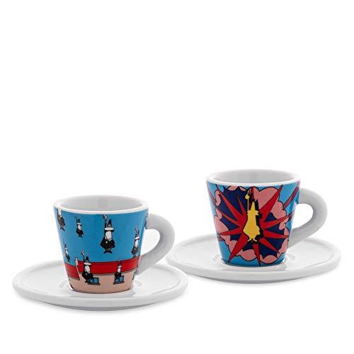 Bialetti Y0TZ030 Set 2 Tazzine Espresso Arte (con Piattini), Porcellana