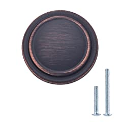 Oil Rubbed Bronze Finish Projection: 0.84-inch Diameter: 1.25-inch Fits most cabinets; includes 1-inch & 1.5-inch mounting screws; you may need to purchase screws of additional length depending on your cabinet's width; machine screw metric size: M8-3...