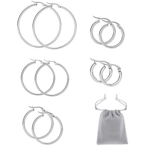 Mannli Juego de pendientes de aro grandes de acero inoxidable hipoalergénico, para mujeres, niñas, en plata, oro, oro rosa