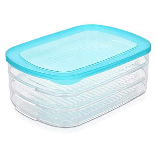 Navaris 3in1 Aufschnitt Stapelbox Set mit Deckel - Wurst Käse Aufschnitt Aufbewahrung stapelbar - Kühlschrank Frischhaltedose BPA frei - klar blau