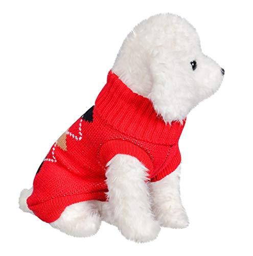 TWBB Weihnachten Hund Hundepullover Winter Rollkragen Hundepulli Strickpullover Haustier Sweater Kostüme Hunde Stehkragen Mantel Jumper Für Kleinen Mittel Großen Hund (Rot)