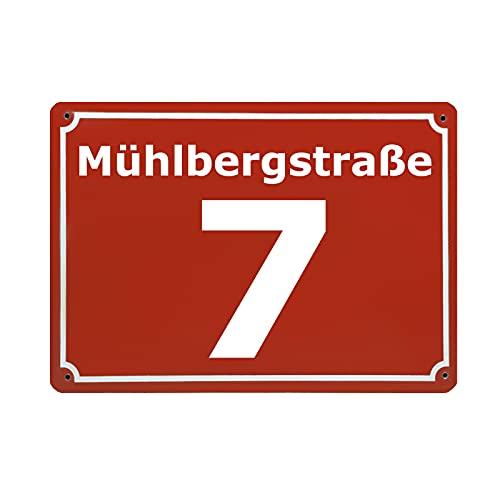 CGFN Personalisierte Rote Hausnummer, Hausnummernschild mit Straßennamen, hausnummernschilder edelstahl - Anpassbare Hausnummer mit Straßenname - 20x15 cm, für Zaun, Gartentor, Tür (rot)