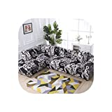 2 Pieces Covers for Corner Sofa Chaise Longue Angled Sofa Sectional Slipcover Universal Stretch Elastic L Shaped Couch Covers,23,145-190Cm 145-190Cm