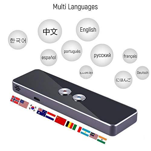 Diyeeni Tragbar Sprachübersetzer mit 40 Sprachen, Intelligente Translator Unterstützt Echtzeit, Fotographieren Übersetzung, Bluetooth Reiseübersetzer mit 750mA Wiederaufladbare Batterie