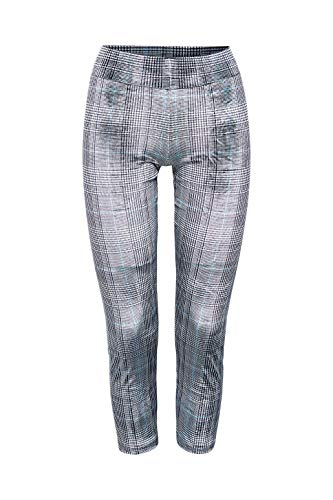 ESPRIT Damen Leggings Checks V., Blickdicht, Matt, 1 Stück, Grau (Light Grey Melange 3390), Größe: 38-40