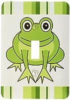 3Dローズ Janna Salak Designs 森に住む動物 ‐ かわいくハッピーな緑のカエル ストライプ模様入り - 照明スイッチカバー - シングル トグルスイッチ - lsp_6104_1 (並行輸入)