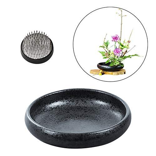 WANDIC Ikebana-Blumenvase mit 4 cm großem Kenzan-Blumenfrosch für Blumenarrangements, Heimdekoration, Schwarz gepunktet
