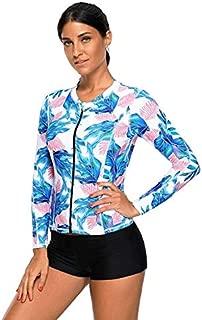BEESCLOVER Blue Pink Tropical Leaf Zipped Rashguard Top Long Sleeve High Elasticity Beach Swimwear