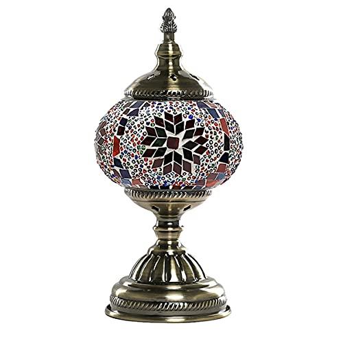 HSLY Lampada a Mosaico Turco Marocchino Lampada da Tavolo Etnica Colore Paralume in Vetro e Base in Bronzo Illuminazione da Comodino,28 * 11CM (Color : 13)