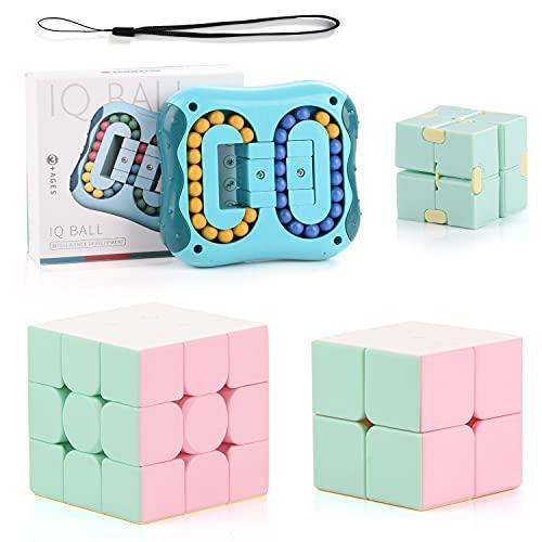Herefun Juguetes de Frijoles Mágicos, Juguetes de Cubo Mágico, Infinite Magic Cube, Cubo de Velocidad para Niños Niñas, Juguetes para Aliviar el Estrés Juguete Creativo (Verde)