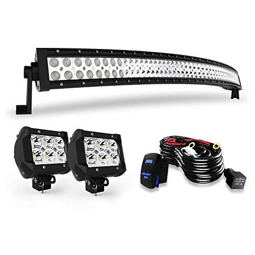 "DOT 54"" Inch Curved Led Light Bar Combo Grill Windshield Bumper Light Bar + 4Inch Offroad Led Fog Light + 1x Rocker Switch + 1x Wiring Harness for Truck Ford Toyota Tundra Chevy Boat Jeep GMC UTV"