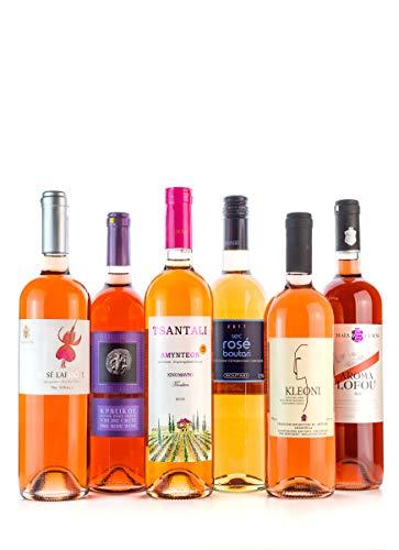 6x Rosewein trocken 750ml im Probier Set 6 Flaschen Rose aus Griechenland Test Paket Kundenlieblinge griechischer Wein fruchtig frisch + 2x 10ml Olivenöl
