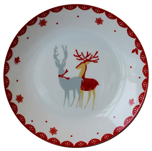 Leadex 4 Piece Christmas Deer 8 Inch Salad/Dessert Plates Set