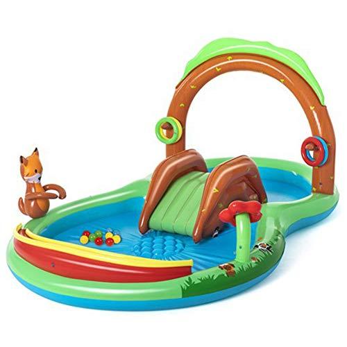 Piscina Inflable para Niños, Bosque De Animales Al Aire Libre Chorro De Agua Familiar Piscina para Niños con Tobogán Jardín De Verano Centro De Juegos De Juguetes Acuáticos para Niños
