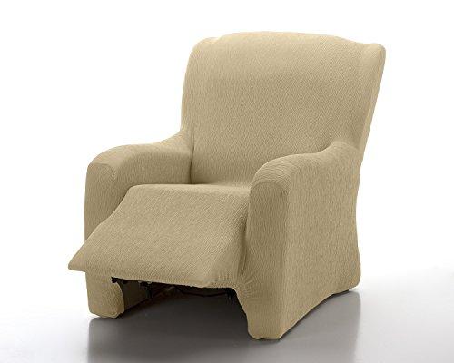 textil-home - Funda de Sillón Elástica Relax Completo Marian, Funda para Sofa - Tamaño 1 Plaza Desde 70 a 100Cm. Color Marfil