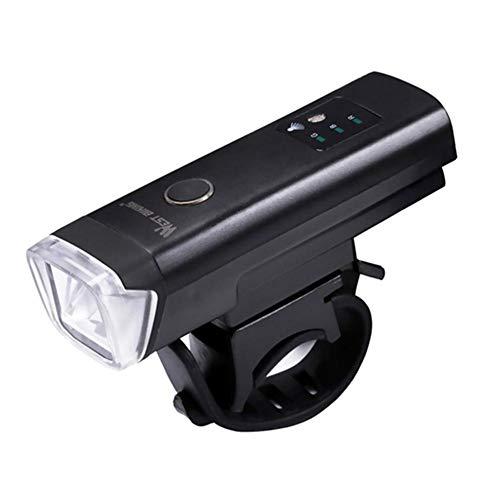 SHIZIZUO Juego de luces de bicicleta, faros de bicicleta, luz de bicicleta WEST BIKING USB recargable luz del sensor de luz faro (negro)