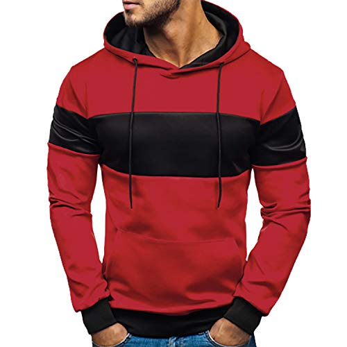 ylovego sweater Pocket Patchwork Hooded Cardigan for Men Slim Fit Hoodie Coat Men Casual Long Sleeve Sweatshirts Male Jackets Red M