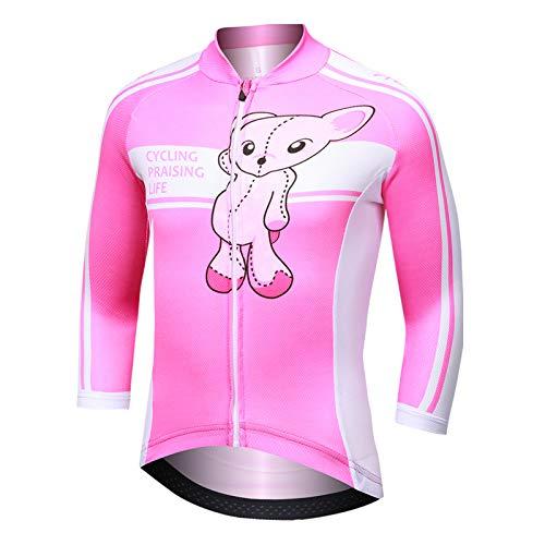 LJENFCI Kinder FahrradbekleidungMäDchen Radfahrhose Langarm RadshirtAtmungsaktive MTB Kleidung Fahrradtrikot Schnelltrocknend Rennrad Lang HoseFahrradshirt Set(Pink Bear Top,2XL)