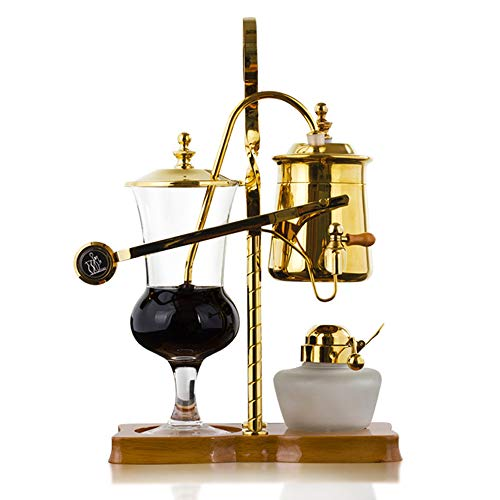 Belgische Belgien Royal Family Balance Siphon Kaffeebereiter mit T-Griff, Goldfarben, 1 Set