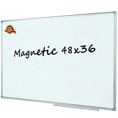 Lockways Magnetic Dry Erase Board, White Board 48 x 36 Inch, Silver Aluminium Frame