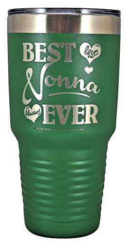 """NONNA GIFT – """"BEST NONNA EVER ~ LOVE YOU"""" Stainless Steel Vacuum Insulated Tumbler Travel Coffee Mug GK Grand Designed & Engraved Hot Cold Birthday Mother's Day Christmas (Green, 30oz)"""