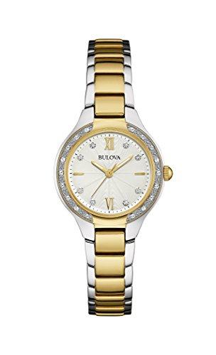 Bulova 98W221 - Reloj analógico de Cuarzo para Mujeres, Correa de Acero Inoxidable, con Diamantes, Color Plateado y Dorado