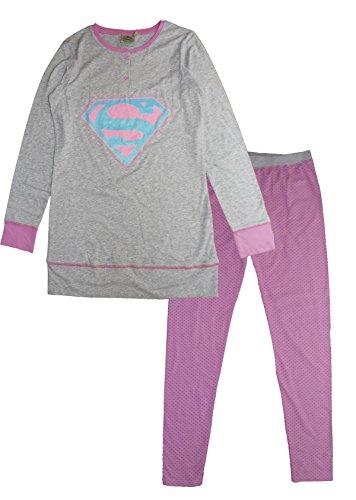 DC Comics Damen Superman Pyjama-Sets, Grey (Lgrey), Small