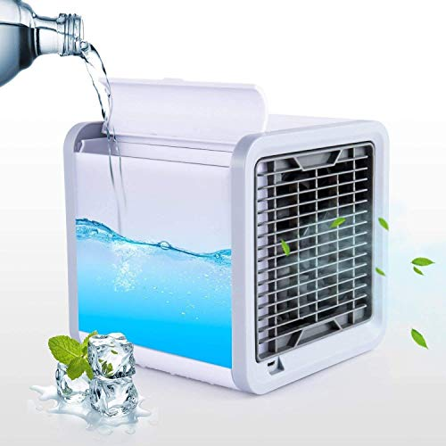 Dencraw Air Cooler Arctic Air Personal Space Cooler 3-in-1 Portable Mini Air Cooler & Purifier with 3 Speeds and 7 Colors LED Lights for Bedroom Home Office