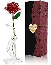 Gomyhom Rosa 24K, Rosa de Oro Chapada en Oro con Caja de Regalo para Madre para Amor en el Día de San Valentín para Aniversario para Amigos como Un Regalo de Cumpleaños (Rojo)