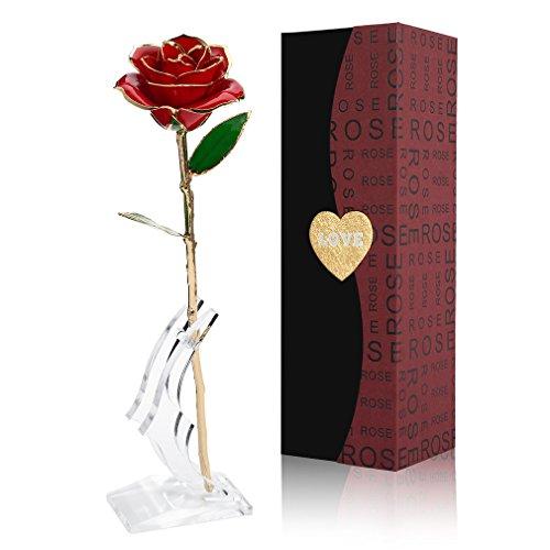 Gomyhom Rose, 24k Gold Rose Handgefertigt Konservierte Rose - mit Geschenkbox für Frau Freundin Oma/Valentinstag/Muttertag/Geburtstag/Hochzeitstag/Weihnachten/Jahrestag/Künstliche Rose (A-Rot)