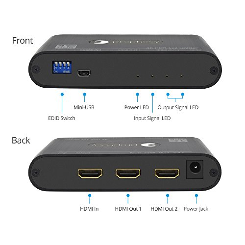 gofanco Prophecy Intelligent 1x2 HDMI Splitter 4K 60Hz HDR – 4K @60Hz 4:4:4, 18Gbps, Auto Scaling, HDMI 2.0a, HDCP 2.2, 3D, EDID, Cascadable, Firmware Upgradeable, 2 Port, 1 in 2 Out (PRO-HDRSplit2P)