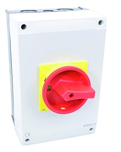 Hauptschalter Leistungsschalter 63A, IP 65, 4-polig im Gehäuse, Drehschalter für alle industriellen Anforderungen