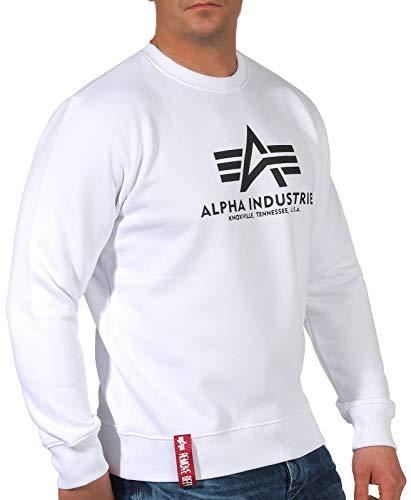 ALPHA INDUSTRIES Herren Sweater Basic Sweatshirt, White, S