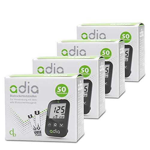 Adia Blutzuckerteststreifen, 200 Stück, Vorteilspackung zur Blutzucker-Kontrolle bei Diabetes