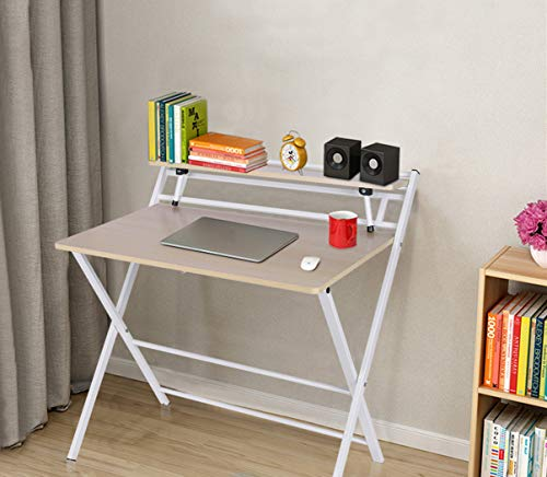 Youmymine Folding Study Computer Desk - Writing Desk Portable Small Lazy Foldable Table Laptop Desk for Small Space,Free Installation Home Office Desk (White)