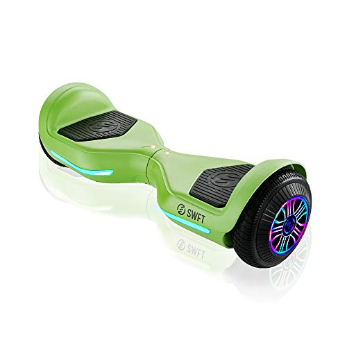 RIDE SWFT Blaze Hoverboard Self Balancing Scooter, UL Certified, 27 Point Safety Check, Up to 3 Miles on a Single Charge, Front-Facing LED Lights, 6.5' Wheels, Lime Green