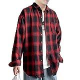 [ブロマーズ] ネルシャツ チェックシャツ 韓国ファッション 大きい サイズ オーバーサイズ 薄手 厚手 シンプル 長袖 カジュアル ユッタリ ビッグシルエット メンズ チェック tシャツ メンズ yシャツ シャツ レッド L