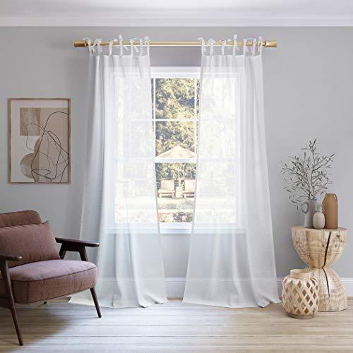 """No. 918 Winnie Slub Textured Linen Blend Sheer Tie Top Curtain Panel, 50"""" x 63"""", White"""