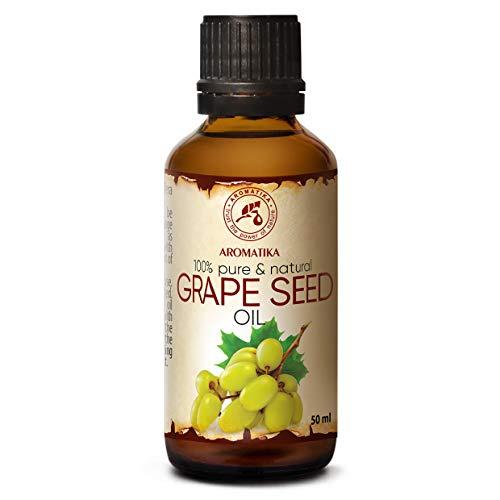 Aceite de Semillas de Uva 50ml - Refinado - Vitis Vinifera - Italia - 100% Puro y Natural - Cuidado Intensivo para la Piel del Rostro - Cabello - Masaje - Cuidado Corporal - Grapeseed Oil